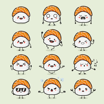 Set of cute japanese sushi character in different action emotion