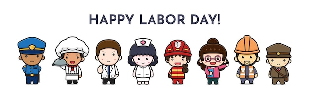 Set of cute job character celebrate labor day cartoon icon vector illustration. design isolated on white. flat cartoon style.