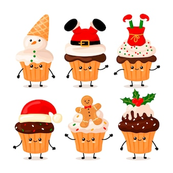 메리 크리스마스가 쓰여진 귀여운 카와이 컵케이크를 설정하세요. 만화 스타일.
