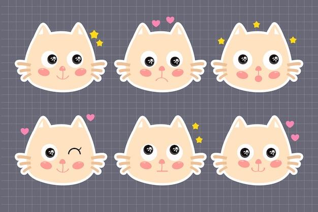 Set of cute kawaii cat stickers