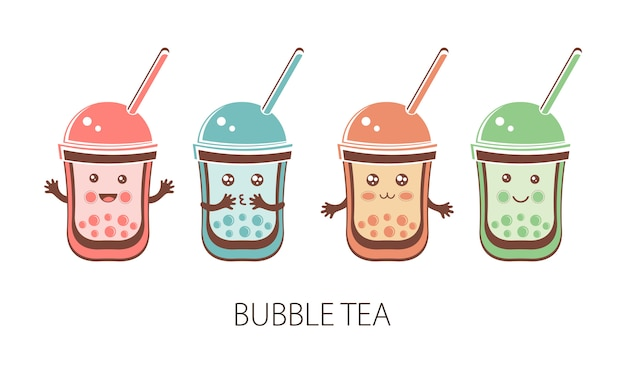 Set cute kawaii character black tapioca pearls. bubble tea. funny cartoon character of ball tapioca or boba. boba tea, taiwanese drink. asian product.  flat illustration