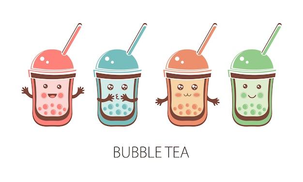 Набор милый каваий персонаж черный жемчуг тапиоки. пузырьковый чай. забавный мультипликационный персонаж из мяча тапиока или боба. чай боба, тайваньский напиток. азиатский продукт. плоская иллюстрация