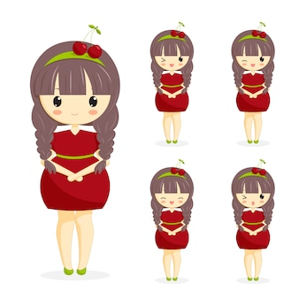 Set of cute kawaii girls in cherry dress with decoration in hair isolated on white background. woman character. berry theme for bakery, cafe, dessert banner, flyer, website. vector illustration.