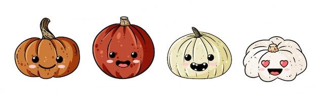 Set of cute kawaii outline pumpkin doodles banner