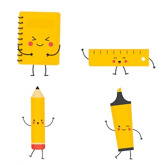 Set of cute kawaii stationery. vector notebook, pencil, highlighter, ruler.