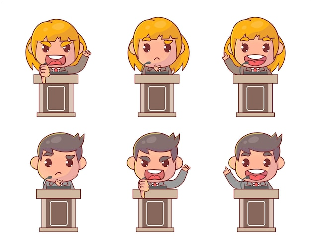 Set of cute kid boy and girl speech on podium