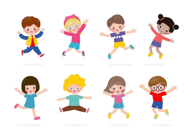 Set of cute kids characters jumping