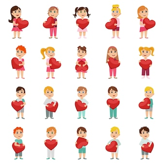 Set of cute kids characters with paper red hearts in hands