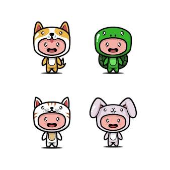 Set of cute kids with animal costume design icon illustration
