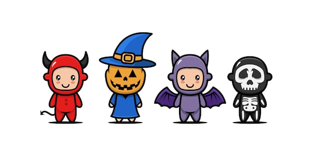 Set of cute kids with halloween costume design icon illustration