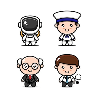 Set of cute kids with job occupations costume design icon illustration