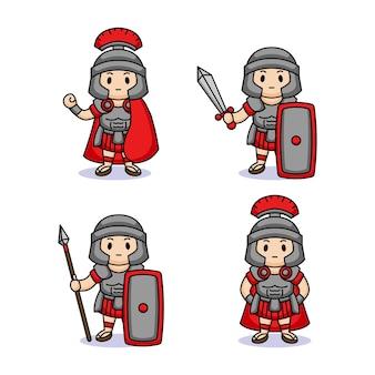 Set of cute kids with roman legion costume