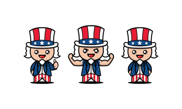 Set of cute kids with uncle sam costume
