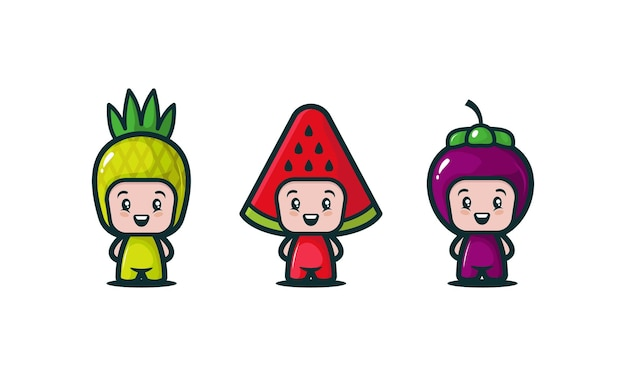 Set of cute kids with various fruit costume