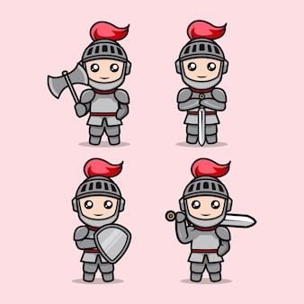 Set of cute knight mascot design illustration template