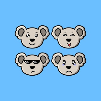 Set cute koala cartoon head character with different expression vector illustration