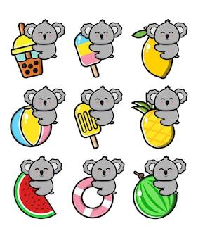 Set cute koala with summer concept