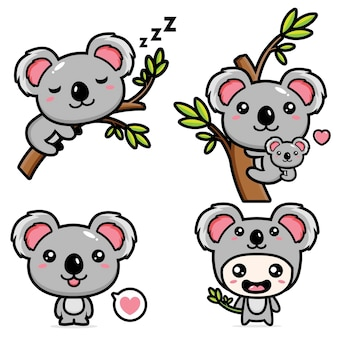 Set of cute koala