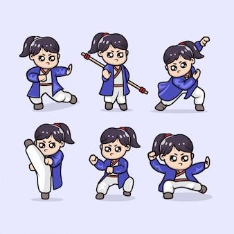 Set of cute kung fu girl mascot design illustration template