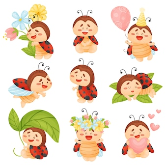 Set of cute ladybugs with flowers and balloon