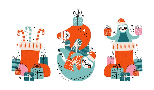 Set cute lazy sloths in santa claus hat with lots of gifts, candies and festive elements. merry christmas and happy new year card or banner. cartoon character bears. illustration in scandinavian style