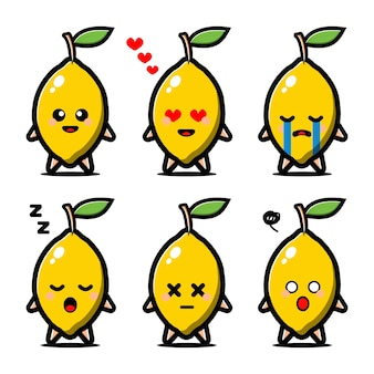 Set of cute lemon with expression cartoon character