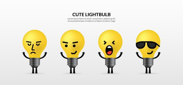 Set of cute light bulb characters standing on white background