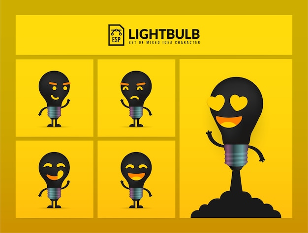 Set of cute light bulb characters on yellow background