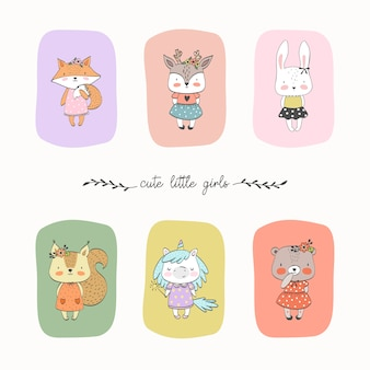 Set of cute liitle animals girls