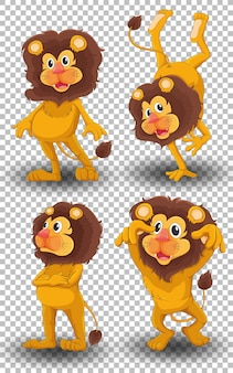 Set of cute lion on transparent background
