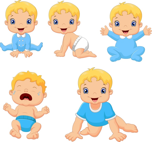 Set of cute little babies in various poses