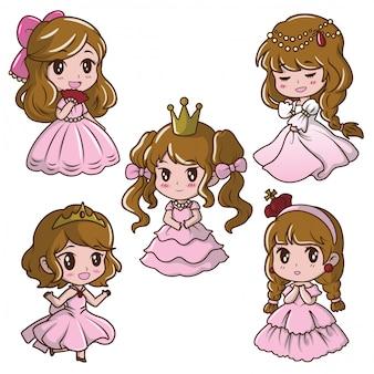 Set cute little girl   princess., fairy tale cartoon concept.