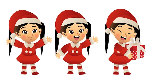 Set of cute little girl in red christmas costume