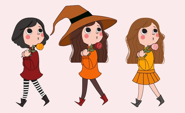 Set of cute little girl with witch hat and flower illustration.