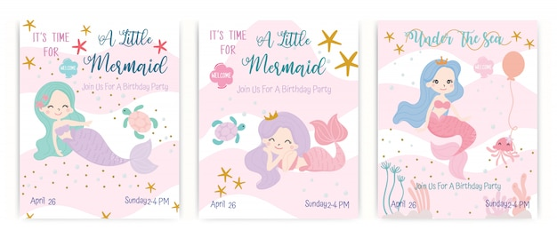Set of cute little mermaids vector.