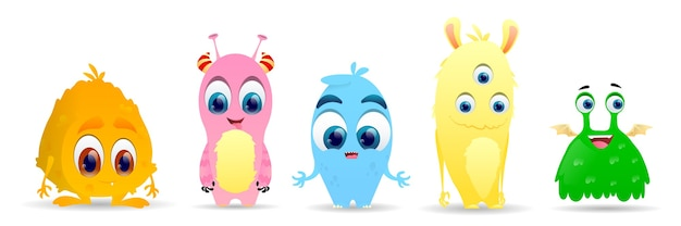 Set of cute little monsters. fluffy cute alien character set