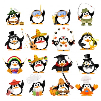 Set of cute little penguins. young penguins of different professions with objects