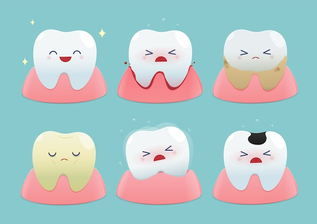 Set of cute little teeth on blue background - total health and dental problems.