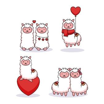 Set of cute llama in valentine's day