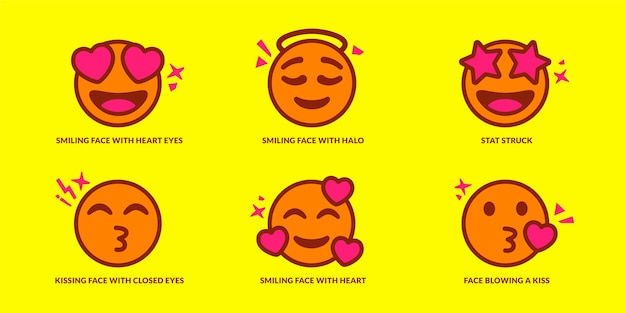 Set of cute in love emoticons