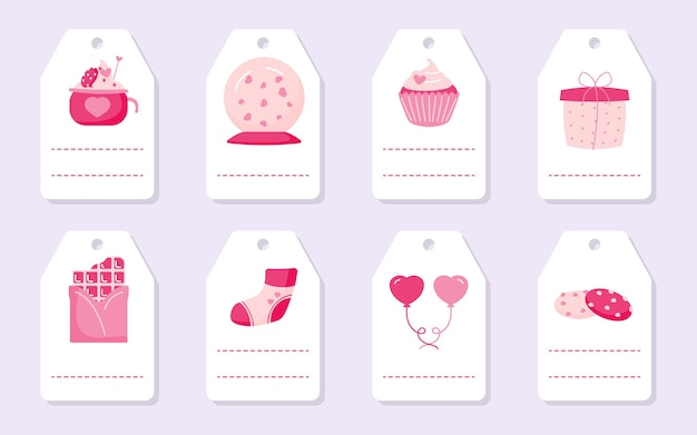 Set of cute love romantic gift tags with pink hearts, cupcake balloon and chocolate. valentines day labels with place for text.