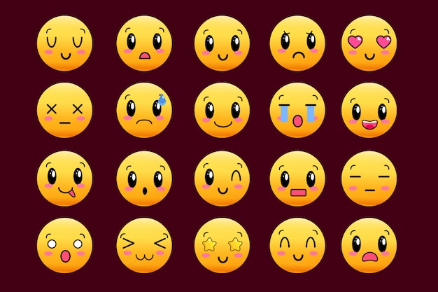 Set of cute lovely kawaii emoticon. doodle cartoon face in childlike manga cartoon style. flat vector icons. sticker collection.