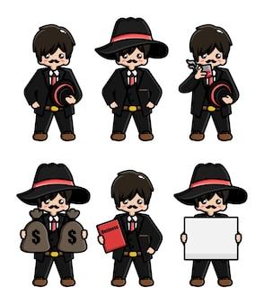 Set of cute mafia mascot character design