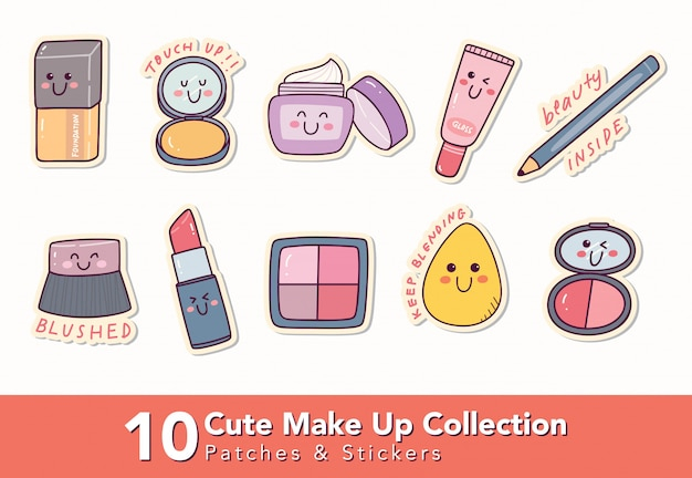Set of cute make up patches and sticker