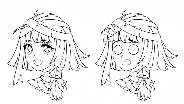 Set of cute manga mummy girl portrait.