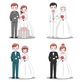 Set of cute married couple designs