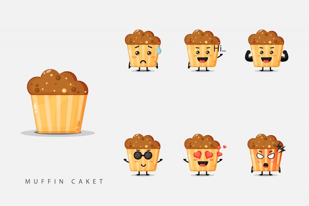 Set of cute mascot muffins