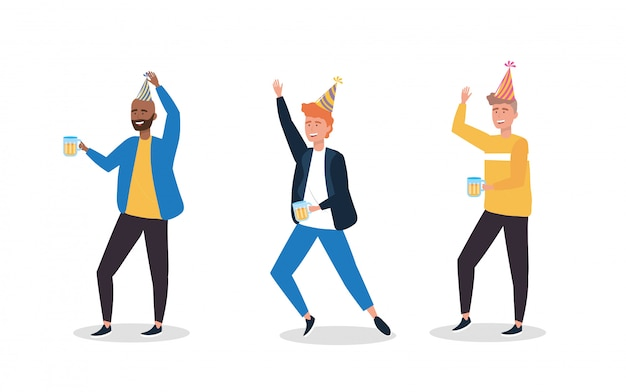 Set of cute men dancing with party hat