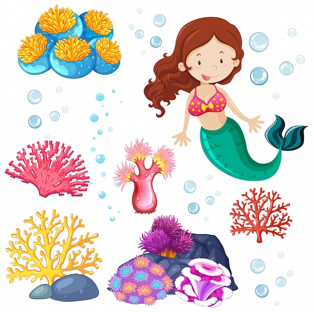 Set of cute mermaid and sea theme