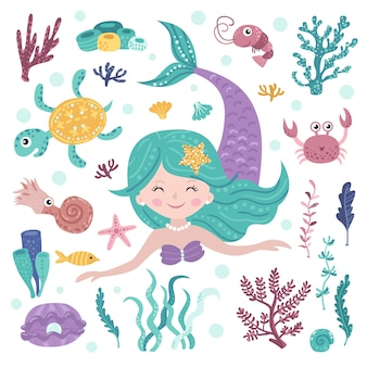 Set of cute mermaid, seaweeds and marine inhabitants